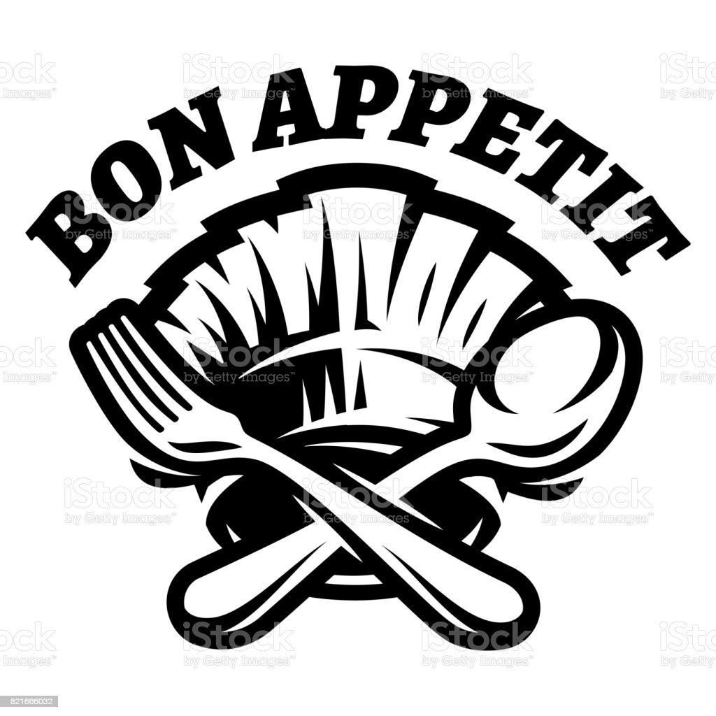 Monochrome Vector Template With Fork Spoon And Cap For