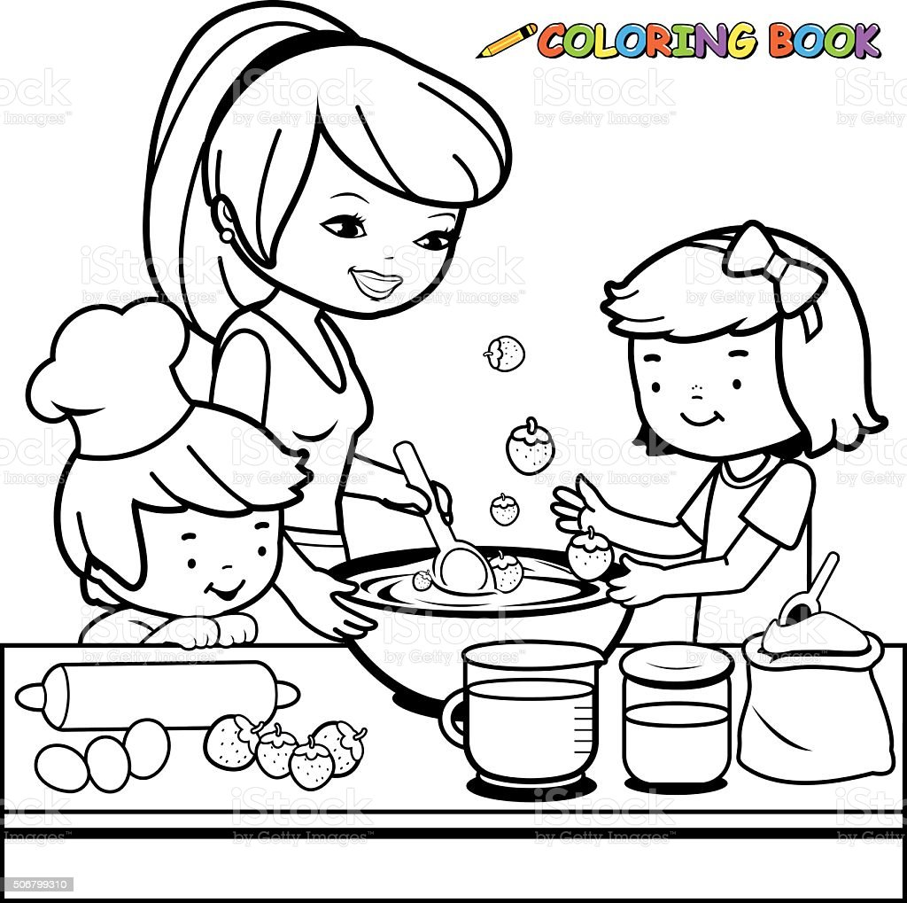 Mother And Children Cooking In The Kitchen Coloring Book
