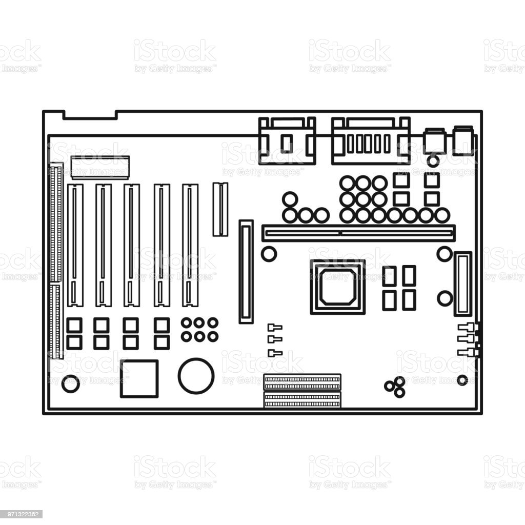 Motherboard Icon In Outline Style Isolated On White