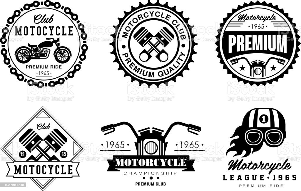 Motorcycle Club Logo Set Retro Badges For Biker Club Auto