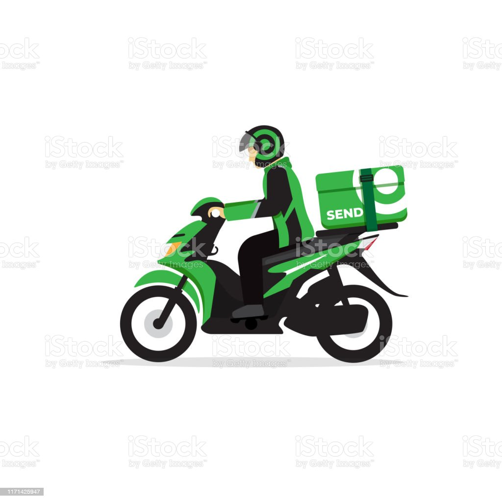 摩托車快遞運輸在印尼其所謂的ojek線上發送一個包裹向量圖形及更多一個物體圖片 - iStock