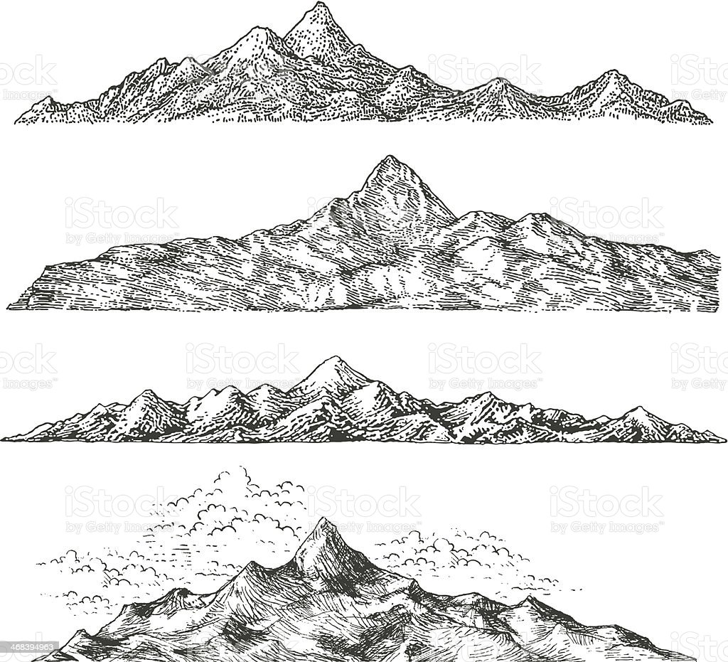 Mountain Drawings Stock Vector Art & More Images of Cloud
