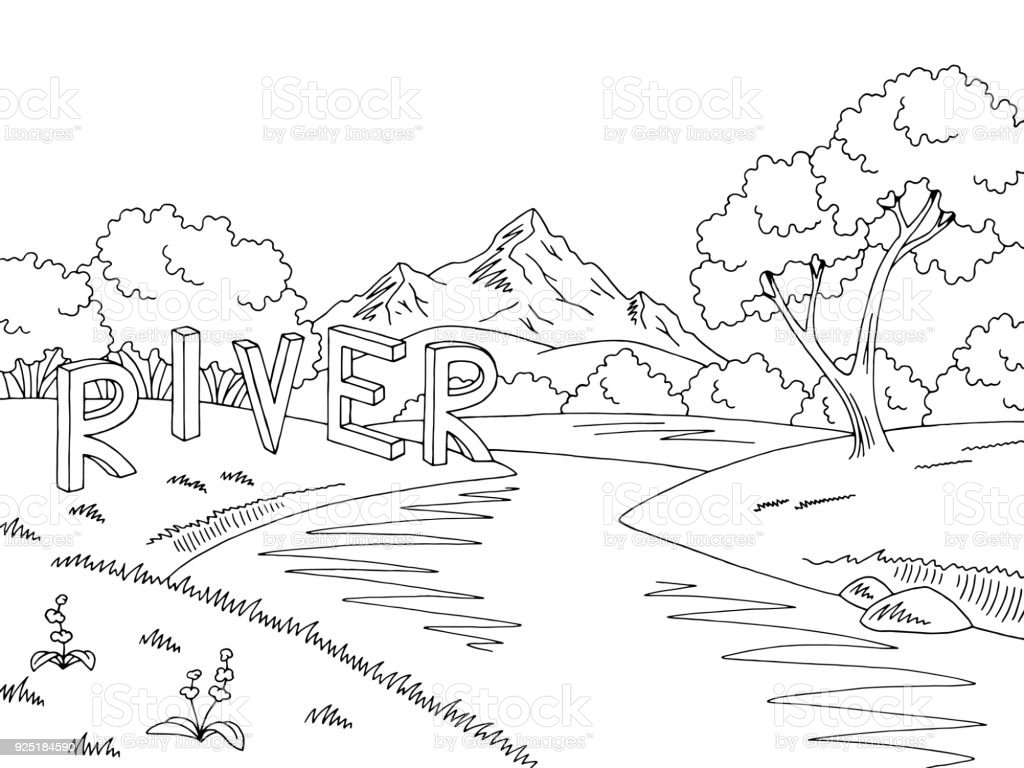 Mountain River Graphic Black White Landscape Sketch
