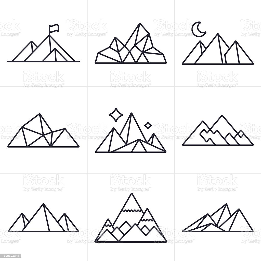 Mountain Symbols And Icons Stock Vector Art & More Images