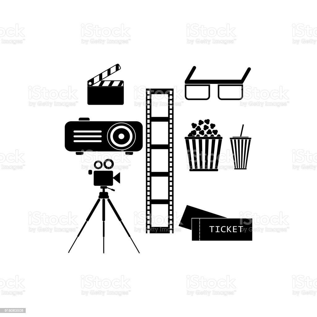 Movie Icons Set Cinema Symbols Film Icons Stock