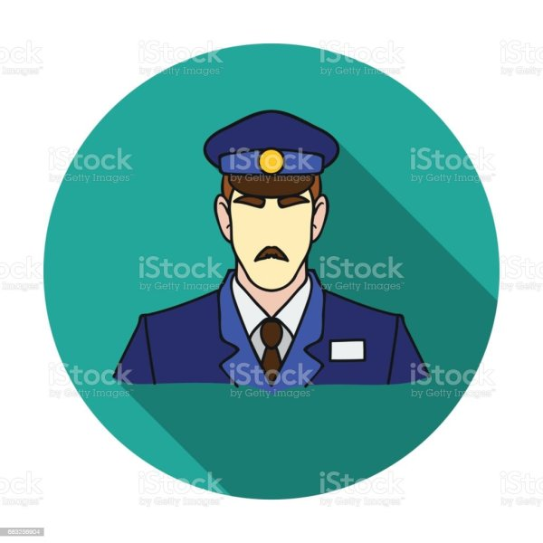 Museum Security Guard Icon In Flat Style Isolated White Background Symbol Stock Vector