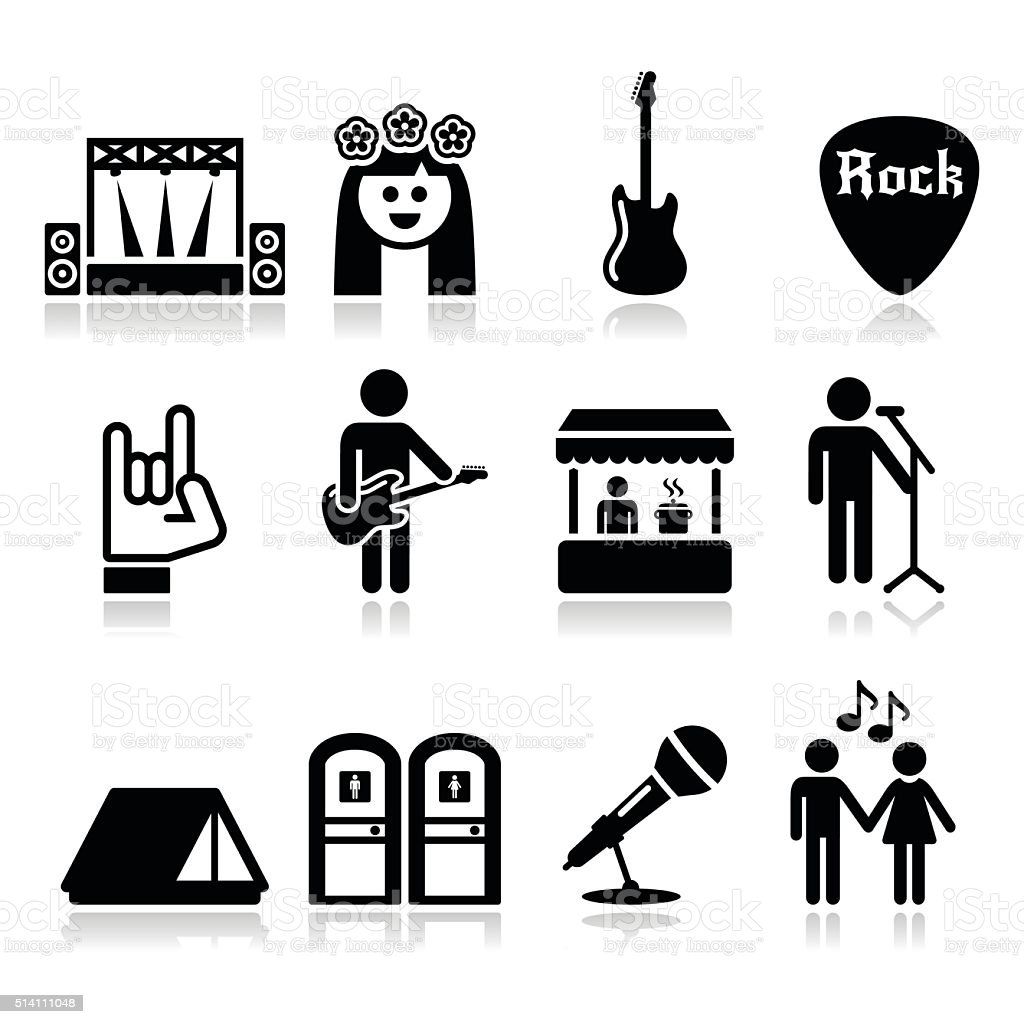 Music Festival Live Concert Vector Icons Set Stock Vector