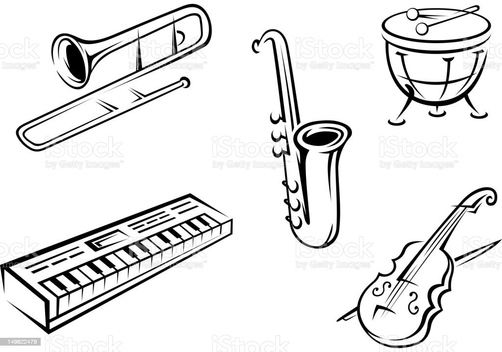Musical Instruments Set Stock Vector Art & More Images of