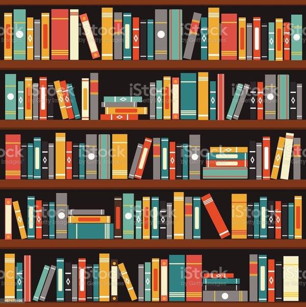 Library Books On Shelf Clip Art