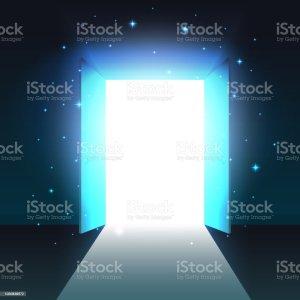 open dark door abstract mystical glowing