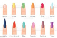 Nails Shape Icons Set Types Of Fashion Bright Colour Nail ...