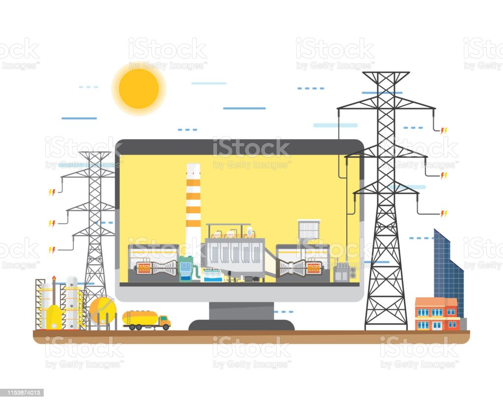 hight resolution of natural gas energy natural gas power plant natural gas combine cycle generate the electric in simple graphic illustration