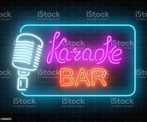 karaoke bar neon sign icon sound cafe nightclub glowing street vector signboard illustration clip background premium illustrations singers rock poster