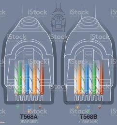 rj45 network cable connector t568a t568b wiring diagram royalty free rj45 network cable connector [ 1024 x 1024 Pixel ]