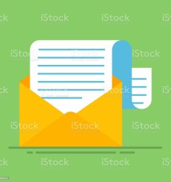 new email message flat carton envelope with open mail correspondence e mail letter [ 1024 x 1024 Pixel ]