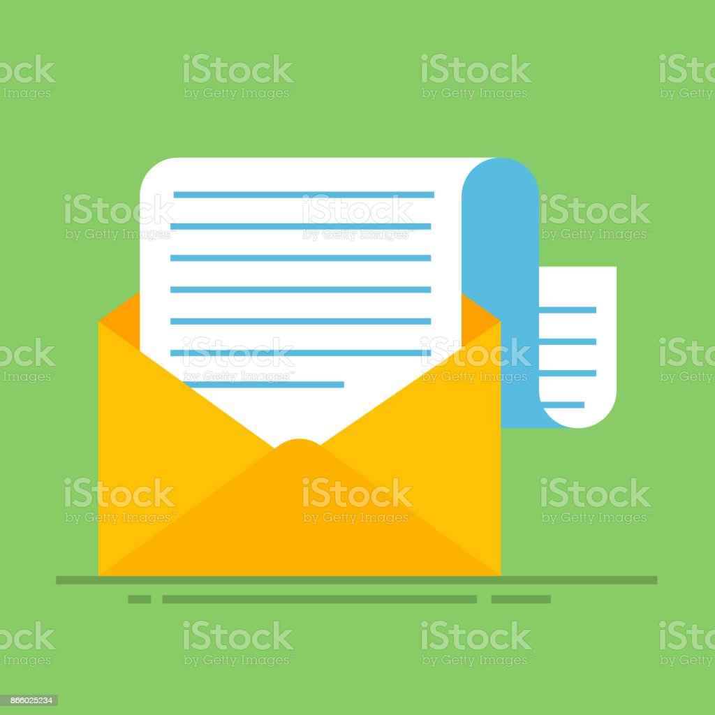 hight resolution of new email message flat carton envelope with open mail correspondence e mail letter