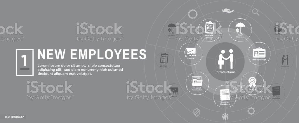 New Employee Hiring Process Icon Set With Handbook