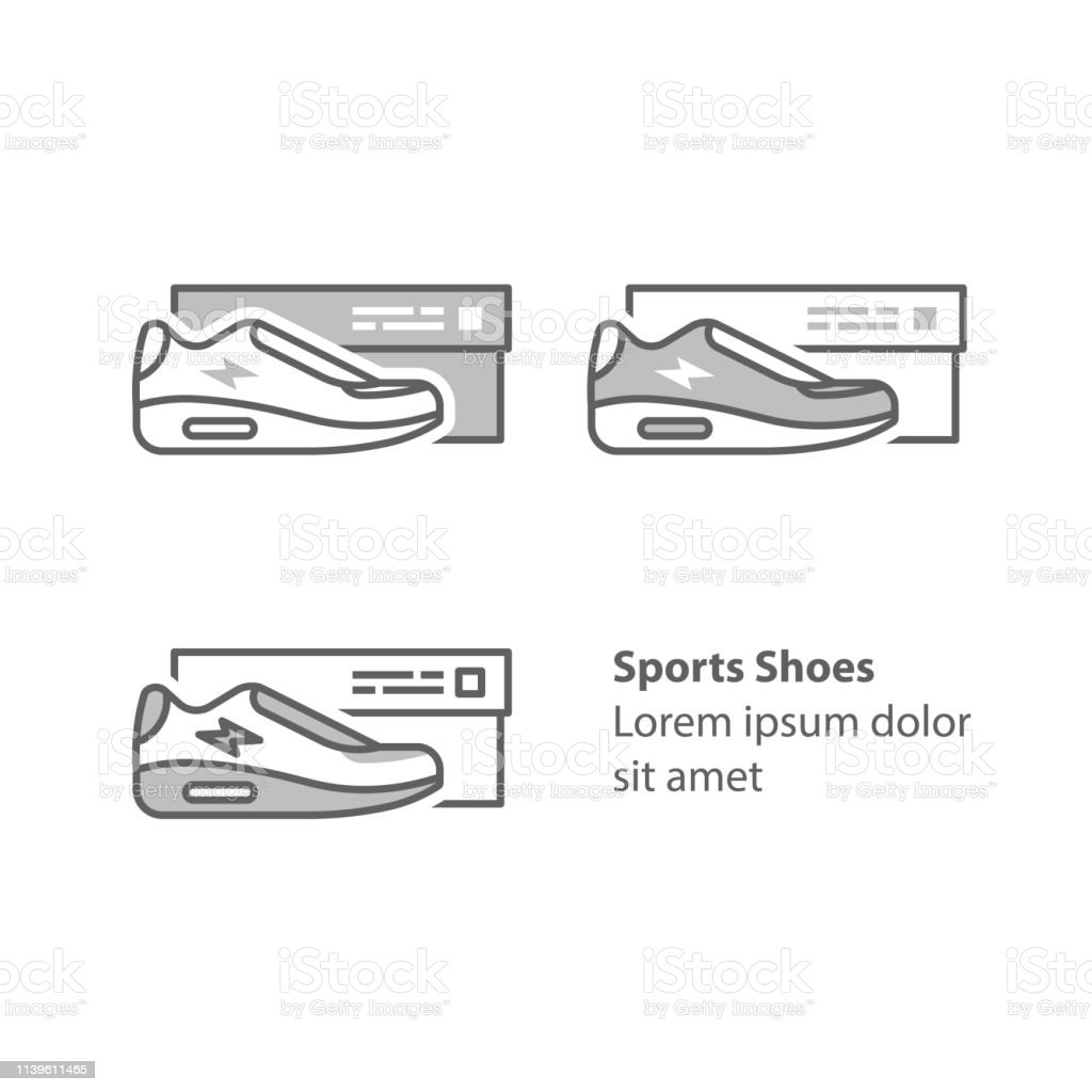 hight resolution of new sneakers collection sports shoes with box running foot wear illustration