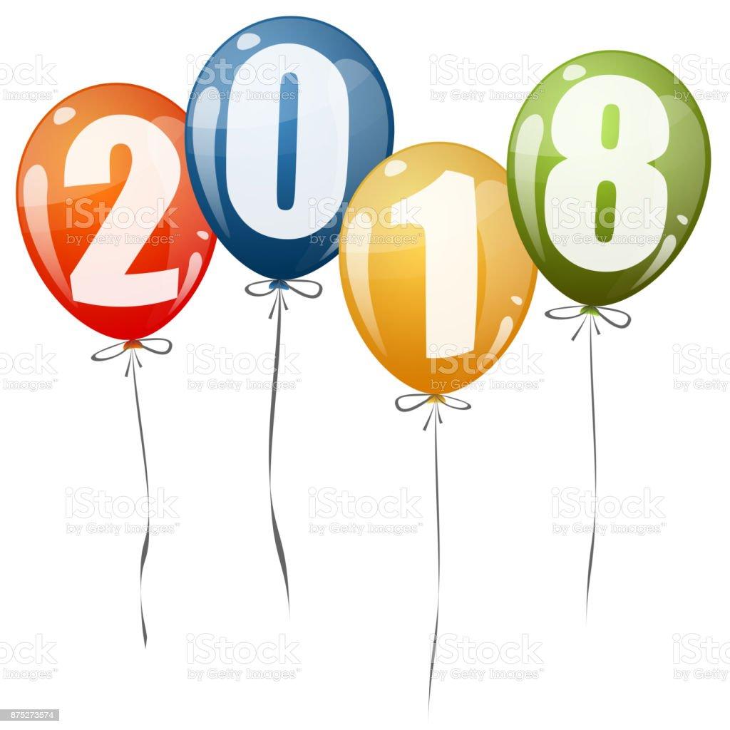 year 2018 balloons stock vector