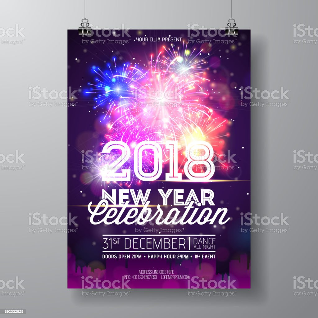 2018 New Year Party Celebration Poster Illustration With Typography Design  And Firework On Shiny Colorful Background