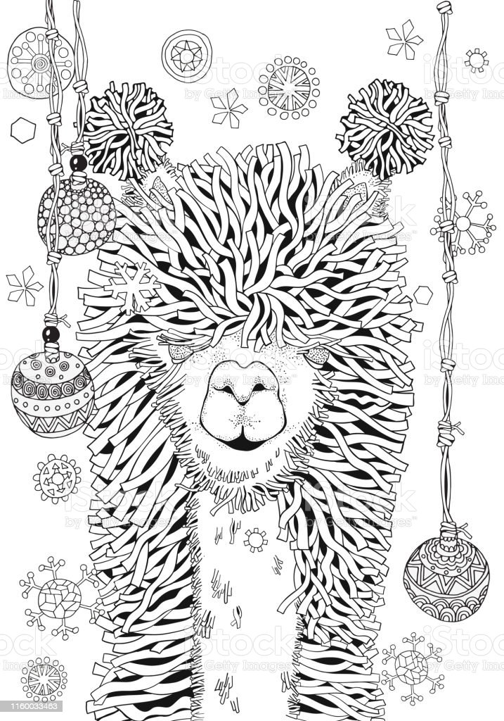 New Year Winter Llama Coloring Book Page For Adult And