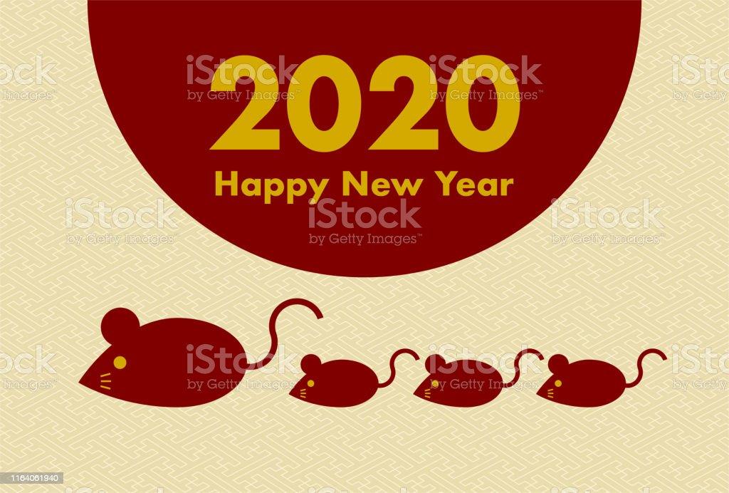 2020年新年賀卡鼠年鼠年老鼠的插圖日本傳統圖案向量圖形及更多一月圖片 - iStock