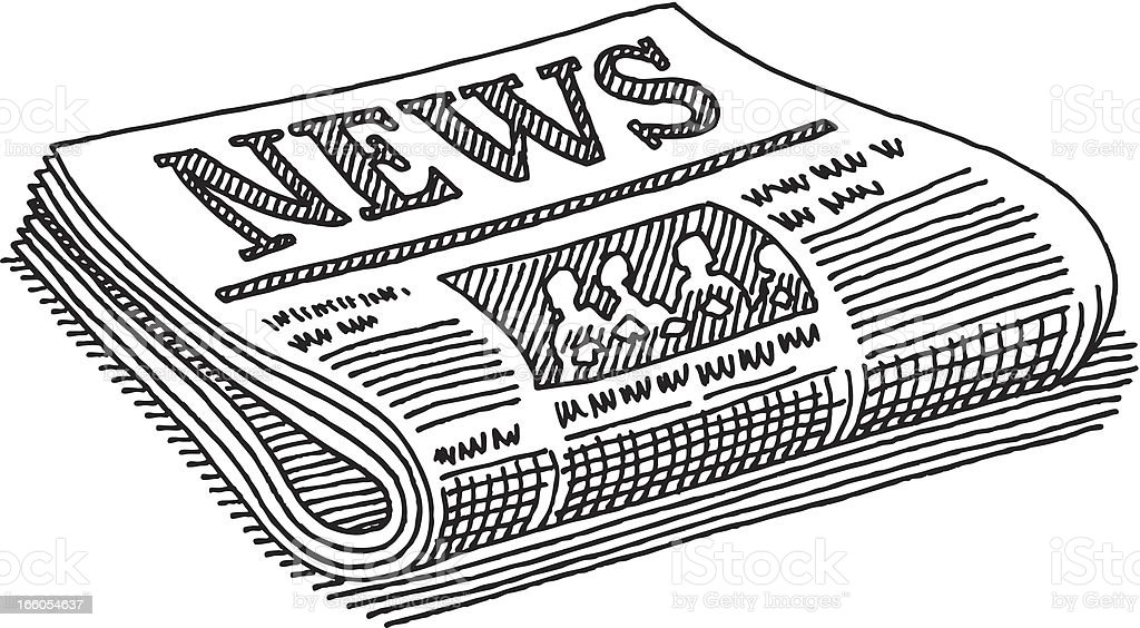 Periódico De Dibujo Illustracion Libre de Derechos