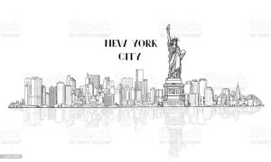 silhouette skyline sketch monument vector york liberty manhattan illustration usa state newyork illustrations american americas similar