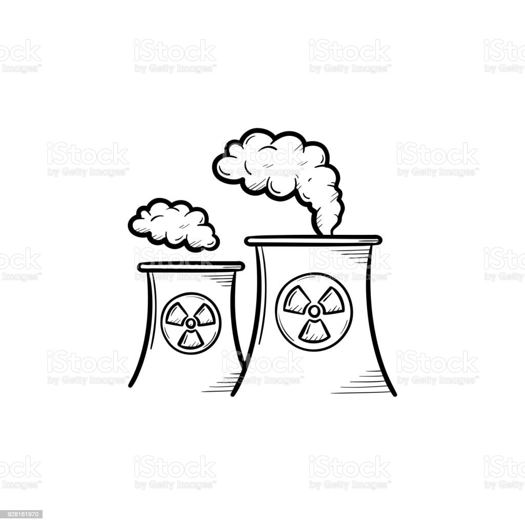 Nuclear Power Plant Hand Drawn Sketch Icon Stock