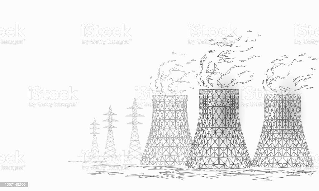 Nuclear Power Station Cooling Tower Low Poly 3d Render