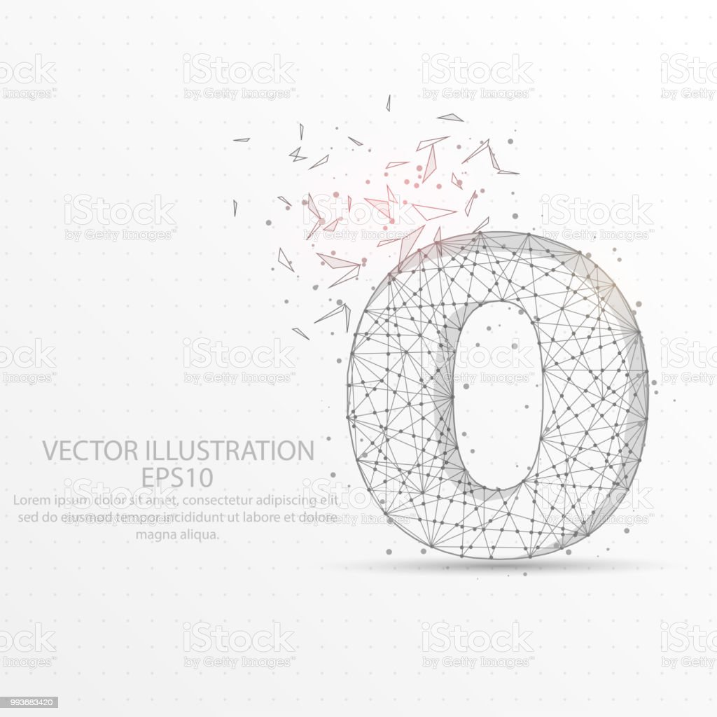 hight resolution of number zero starry sky or space low poly wire frame on white background royalty