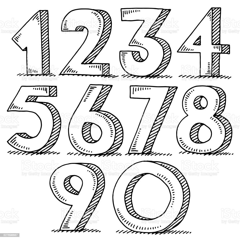 Numbers Set Drawing Stock Vector Art & More Images of 1980