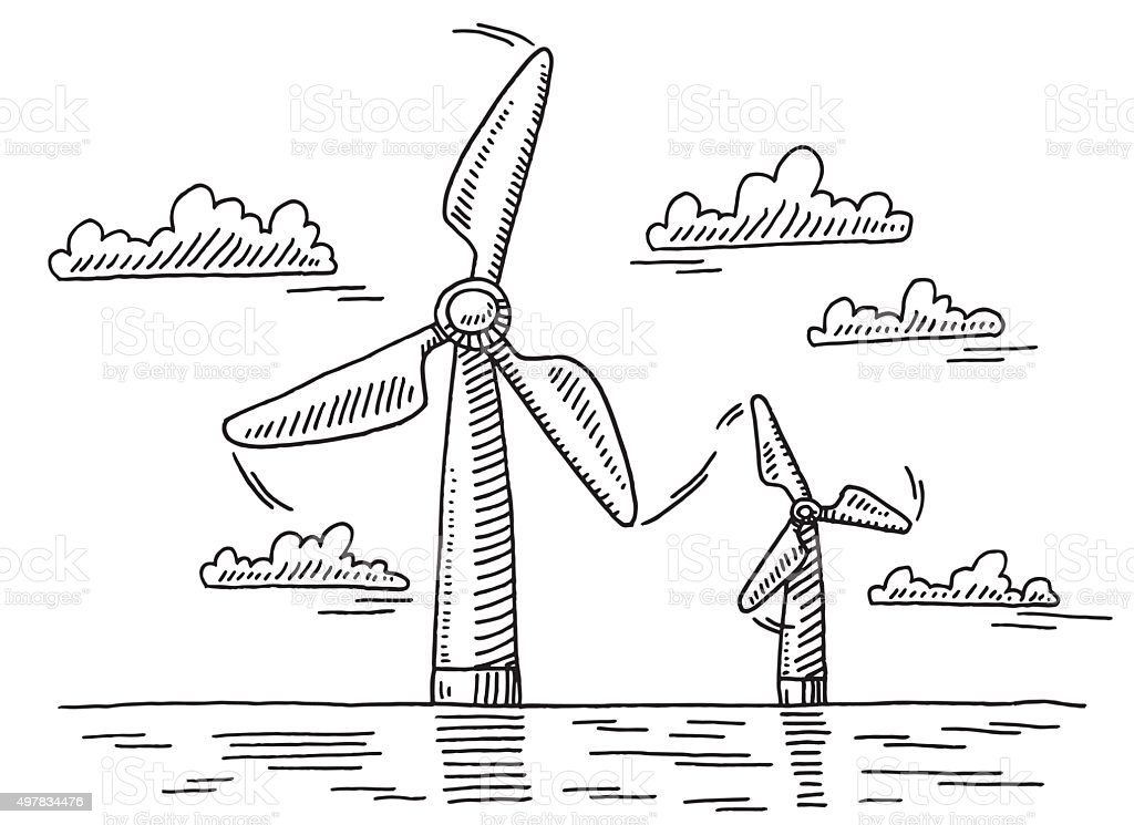 Off Shore Wind Turbines Drawing Stock Vector Art & More