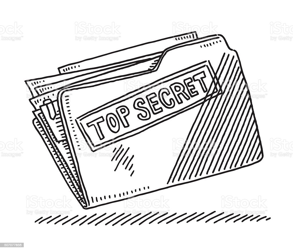 Office File Folder Top Secret Documents Drawing Stock