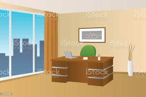 office background vector clip interior window chair illustrations table illustration royalty vectors cartoons graphics