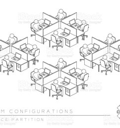 office room setup layout configuration half partition style perspective 3d isometric with top view illustration [ 1024 x 768 Pixel ]