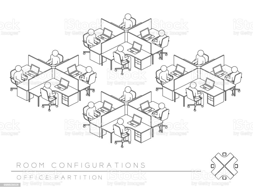 hight resolution of office room setup layout configuration half partition style perspective 3d isometric with top view illustration
