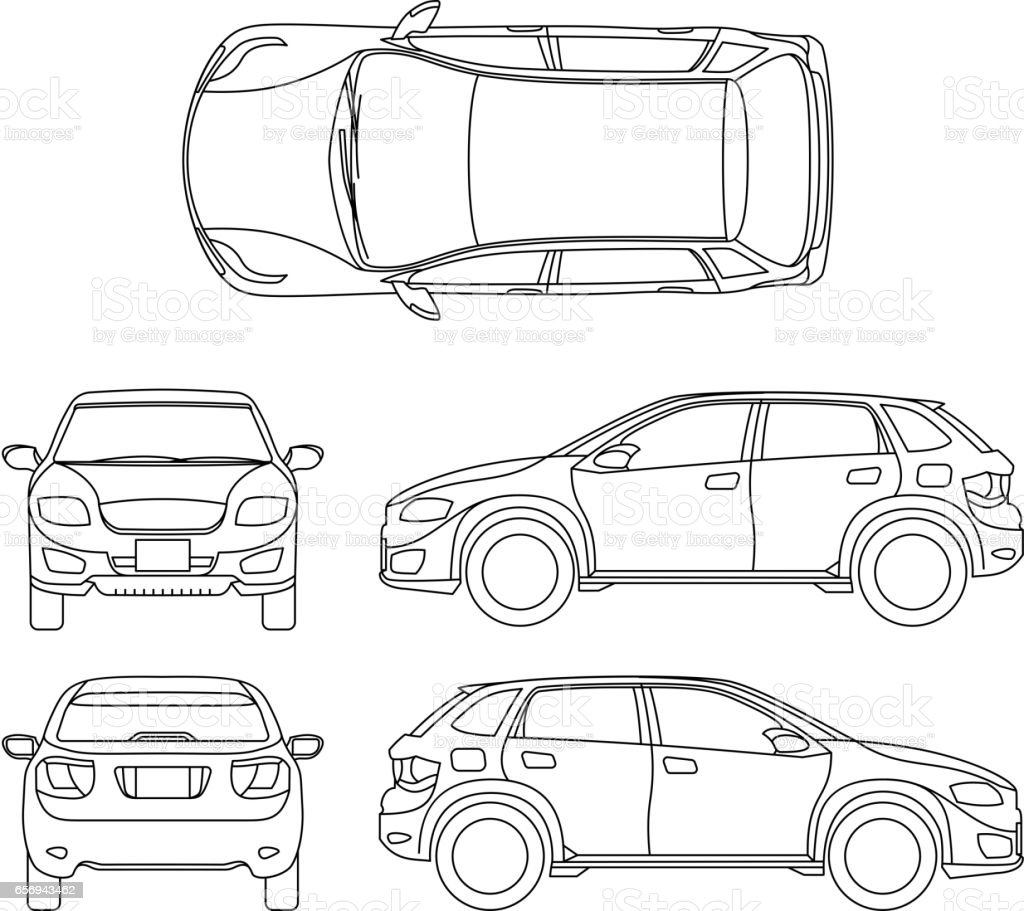 Offroad Suv Auto Outline Vector Vehicle Stock Vector Art
