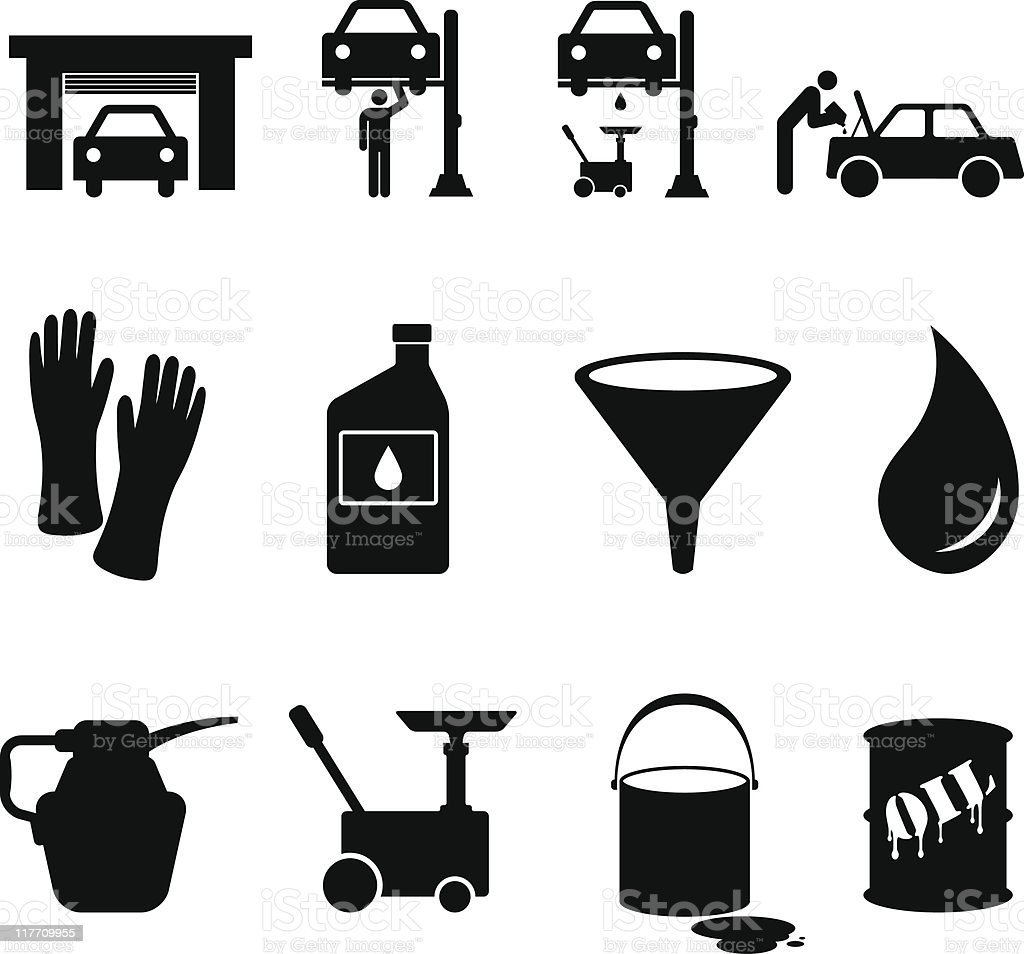 Oil Change Black And White Royalty Free Vector Icon Set