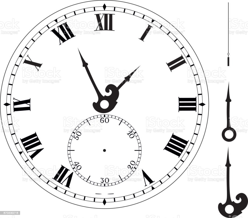 Old Elegant Clock Face Template With Numerals And Arrows