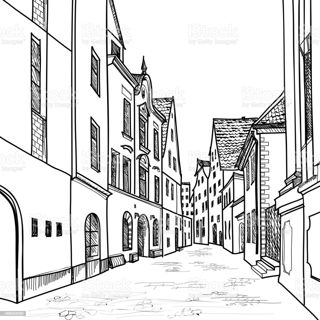 Old European Street Houses And Buildings Hand Drawing