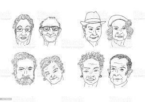 drawing senior clip vector faces illustrations