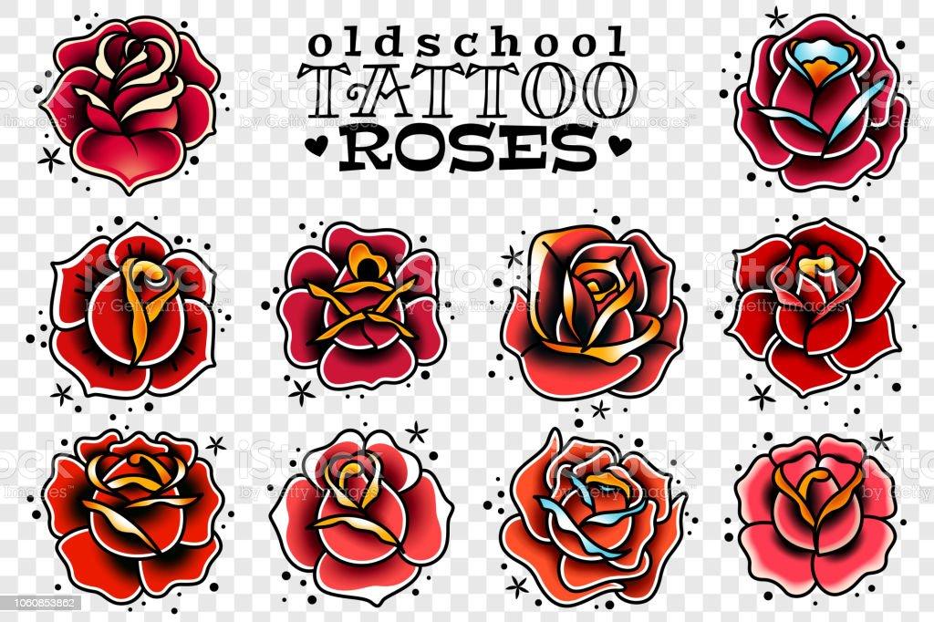 Ilustración De Rosas Rojas De La Vieja Escuela Del Tatuaje Conjunto