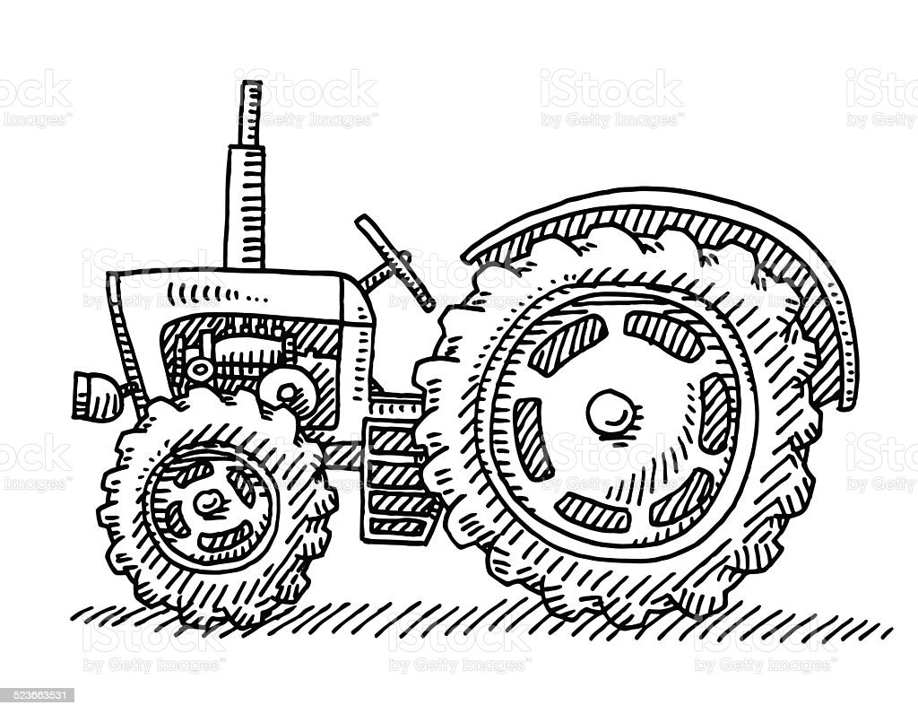 Old Tractor Agricultural Vehicle Drawing Stock Vector Art