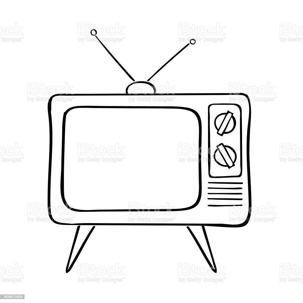 Old Tv Set Vector Illustration Stock Vector Art & More