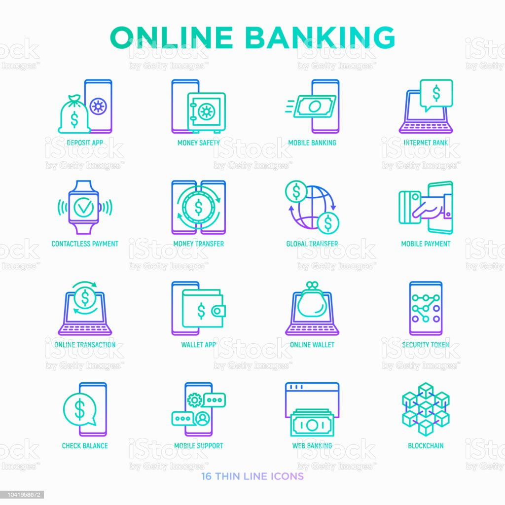 Online Banking Thin Line Icons Set Deposit App Money Safety Internet Bank Contactless Payment Credit Card Online Transaction Check Balance Mobile Support Blockchain Vector Illustration Stock Illustration Download Image Now Istock