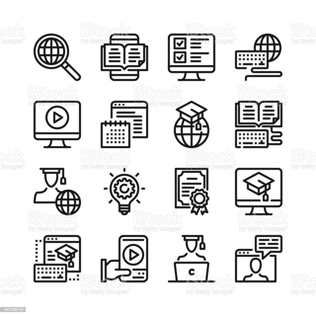 Online Education Line Icons Set 48x48 Px Elearning