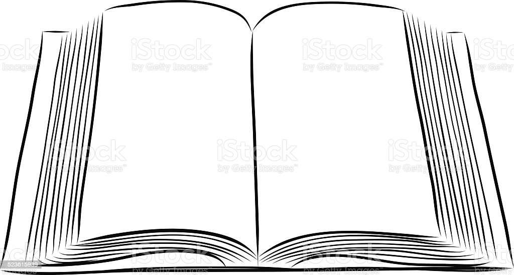 Open Book Hand Draw Stock Vector Art & More Images of
