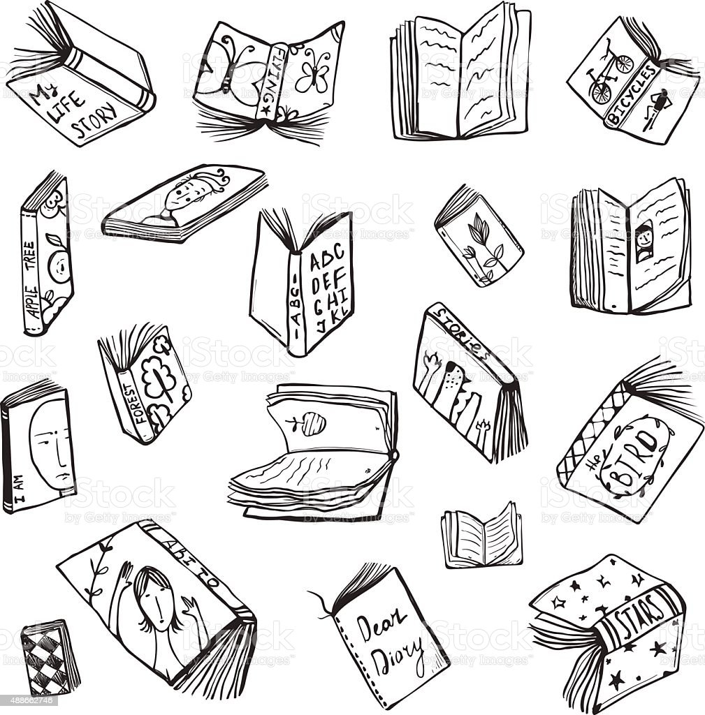 Open Books Drawing Reading Collection In Black Lines Stock