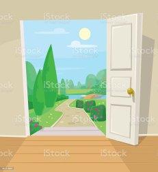 cartoon door open garden vector clipart illustration clip doorway inside doors leaving gate graphics vectors istock illustrations heaven premium istockphoto